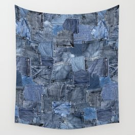 Blue Jeans Pocket Patchwork Pattern Wall Tapestry