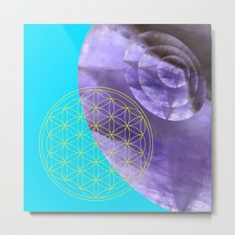 Mystical Flower of Life Amethyst #society6 Metal Print