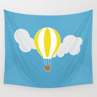 hot air balloon Wall Tapestries featuring Hot Air Balloon Illustration by Rachel J