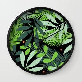 Tropical Green Leaves Orange Dots Cool Pattern  Wall Clock