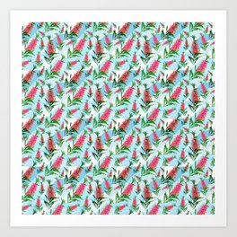 Beautiful Pink Australian Natives on Blue Geometric Background Art Print