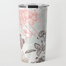 Beautiful rose vintage Victorian style classic floral pattern hand drawn detailed fashion style Travel Mug
