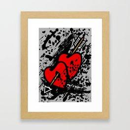 Hearts pierced with an arrow Framed Art Print