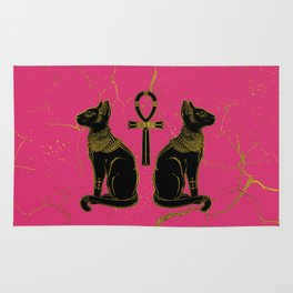 Sphinx Black & Gold Egyptian  cat on fuchsia Rug