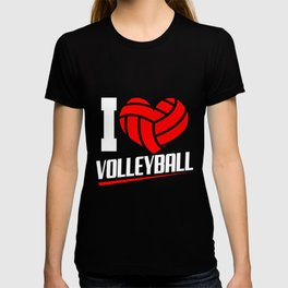 Volleyball Love Heart Ball Sports Team Set Players T-shirt