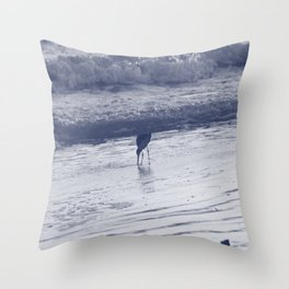 Combing the beach Throw Pillow