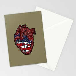 """Flag Heart"" - American Flag, Human Heart - Labor Day - www.davidjdiamant.com Stationery Cards"