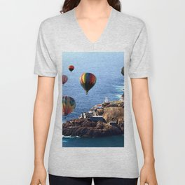 Flying Colorful Hot air Balloons over Newfoundland Unisex V-Neck