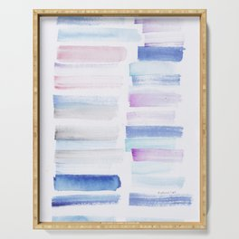 1  | 181101 Watercolour Palette Abstract Art | Lines | Stripes | Serving Tray