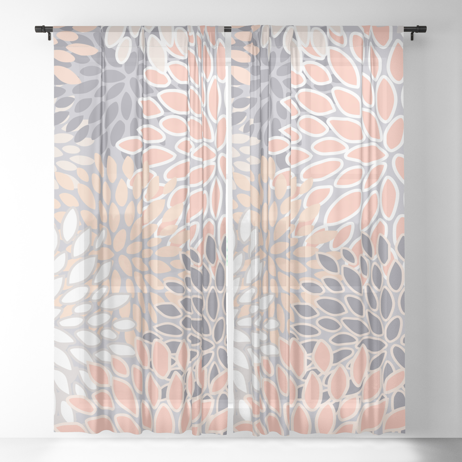Flowers Abstract Print Coral Peach Gray Sheer Curtain By Meganmorrisart Society6