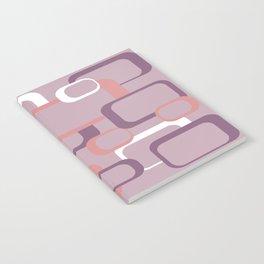 Retro Squaures Pattern Purple Pink White Notebook