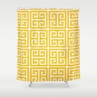 greek Shower Curtains featuring greek key by Iris & Ino