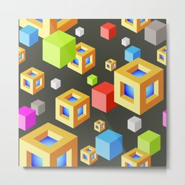 Seamless Background with colored cubes on black Metal Print