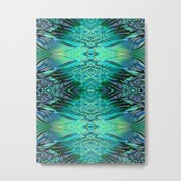PRETTY BLUE GREENERY SWEEPING LINE PATTERN Metal Print