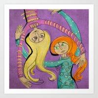 Flying Hug Art Print