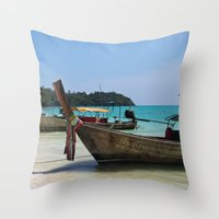 thailand Throw Pillows featuring Thailand Boat by Serena Jones Photography