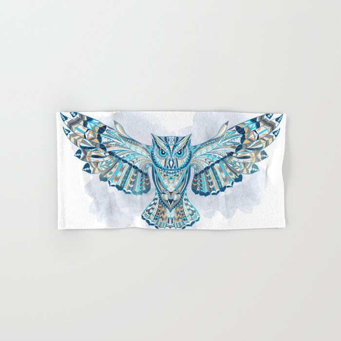 Blue Ethnic Owl Hand & Bath Towel