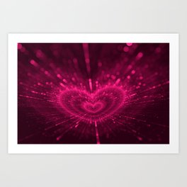 Purple Love Heart, Happy Valentine's Day Pattern Art Print