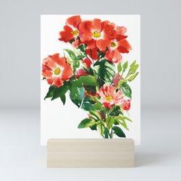 red rose bush, watercolor sketch from nature Mini Art Print