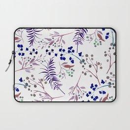 Watercolor navy blue pink tropical berries floral Laptop Sleeve