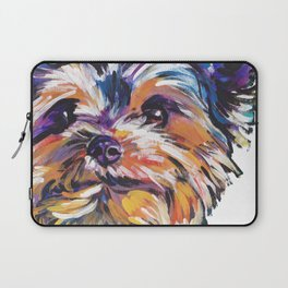 Fun Yorkie Dog Portrait bright colorful Pop Art Painting by LEA Laptop Sleeve
