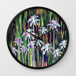 Bright Neon Multi-Colored Palm Trees and Stripes Wall Clock