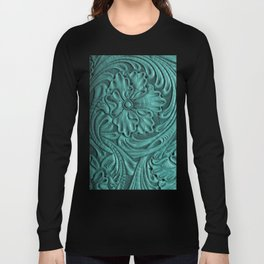 Teal Flower Tooled Leather Long Sleeve T-shirt