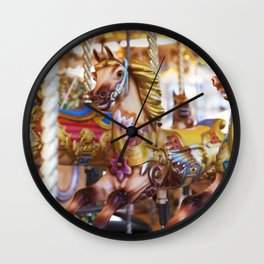 Wild horses at the fairground Wall Clock