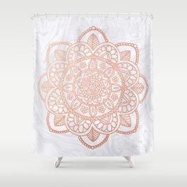 Rose Gold Mandala on White Marble Shower Curtain