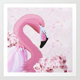 PINK FLAMINGO AND ORCHID OIL PAINTING Art Print