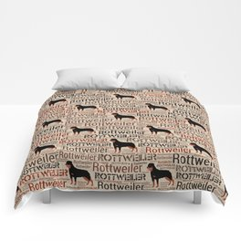 Rottweiler silhouette and word art pattern Comforters