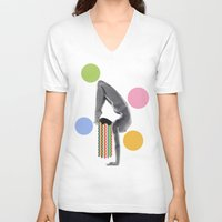 yoga V-neck T-shirts featuring Yoga by Lerson