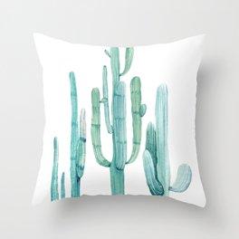 Cacti Fam Turquoise Throw Pillow