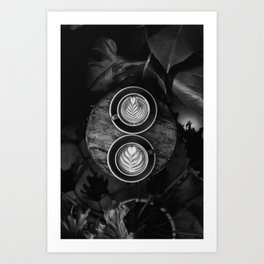 Coffees (Black and White) Art Print
