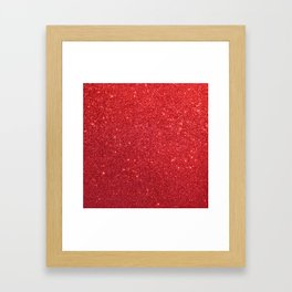 Shiny Sparkly Christmas Cherry Red Glitter Framed Art Print