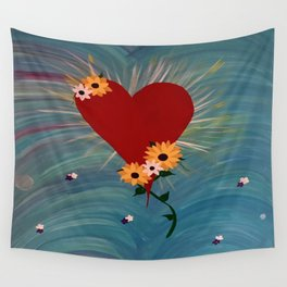 Heart with Flowers Wall Tapestry