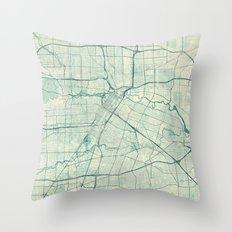 Houston Map Blue Vintage Throw Pillow