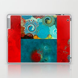 Teal and Red Swirls Laptop & iPad Skin