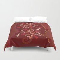mid century Duvet Covers featuring Mid-Century Mozart by Fugue & Fury