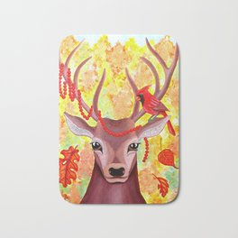Deer and Cardinal at Fall Bath Mat