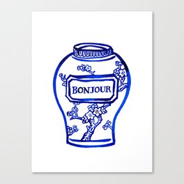 Bonjour, Korean apricot flower ceramic vase, blue and white printable wall art, minimalist wall art Canvas Print