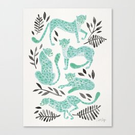 Cheetah Collection – Mint & Black Palette Canvas Print