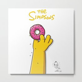 Homer's doughnut, animated tv sitcom, Matt Groening, fox, Bart, Lisa, Maggie, Marge, american family Metal Print