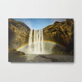 Skogafoss Rainbow Iceland Waterfall Beautiful Summer Landscape Metal Print