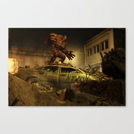 The Infernal Behemoth - Hell in The City - Fantasy  Artwork Canvas Print