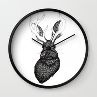 jackalope Wall Clocks featuring The Jackalope by ECMazur