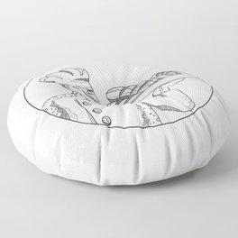 Baker Holding Bread on Plate Doodle Art Floor Pillow