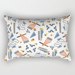 Memphis Style Geometric Abstract Seamless Red and Blue Rectangular Pillow