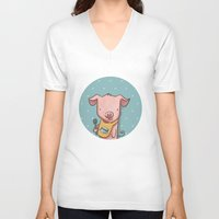 piglet V-neck T-shirts featuring Hungry Piglet by Hop & Flop