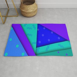 Abstract in Blues, Greens, and Purple Rug